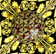 Sofranko Framed Prints - Golden Stained Glass Kaleidoscope Under Glass Framed Print by Rose Santuci-Sofranko