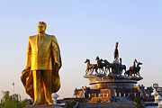 Independence Park Framed Prints - Golden statue of Niyazov in the Park of Independence in Ashgabat Turkmenistan Framed Print by Robert Preston