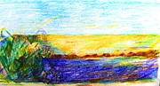 The View Drawings - Golden Sunlight on the Sea Cyprus by Anita Dale Livaditis