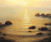 Golden Sunlight Paintings - Golden Sunrise by Kiril Stanchev