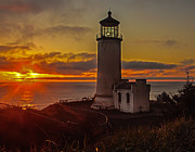 Fresnel Prints - Golden Sunset at North Head Lighthouse Print by Robert Bales