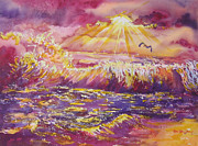 Puerto Rico Paintings - Golden Sunset by Estela Robles