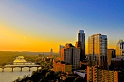 Downtown Austin Posters - Golden Sunset in Austin Texas Poster by Kristina Deane