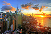 Hong Kong Acrylic Prints - Golden Sunset in Hong Kong Acrylic Print by Lars Ruecker