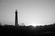 Jerseyshore Photo Originals - Golden Sunset Lighthouse in BW by Michael Ver Sprill
