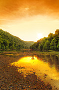 Arkansas Beauty Digital Art Prints - Golden Sunset on Buffalo River Print by Bill Tiepelman