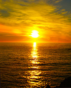 Sunset Seascape Digital Art Prints - Golden Sunset Pismo Beach 2 Print by Barbara Snyder
