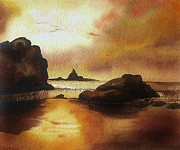 Alluring Painting Originals - Golden Sunset  by S Aili