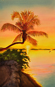Florida Waterscape Originals - Golden Sunset by Terry Arroyo Mulrooney