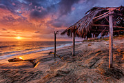 High Dynamic Range Posters - Golden Sunset The Surf Shack Poster by Peter Tellone