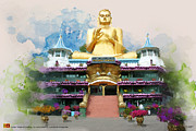 Historic Statue Painting Prints - Golden temple of Dambulla Print by Catf