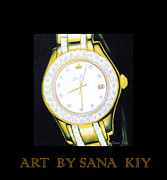Wrist Watch Prints - Golden Time. Inspirations Collection. Print by Oksana Semenchenko
