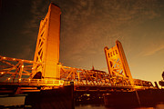 Old Sacramento Prints - Golden Tower Bridge Print by Cheryl Young