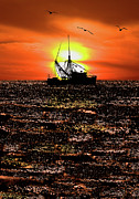 Fishing Art Cards Prints - Golden Trawler - Outer Banks Print by Dan Carmichael
