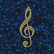 Symbology Prints - Golden treble clef Print by Gaspar Avila