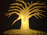 Tree Roots Paintings - GOLDEN Tree of Life by Elisheva Herrera