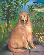 Golden Retriever Dog Framed Prints - Golden Welcome Framed Print by Mary Medrano