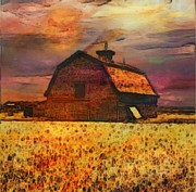 Painterartistfin Posters - Golden Wheat Sunset Barn Poster by PainterArtist FIN