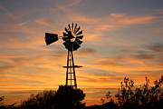 Golden Windmill Silhouette Print by Robert D  Brozek