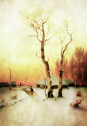 Winter Scene Mixed Media Metal Prints - Golden Winter Of Forgotten Dreams Metal Print by Zeana Romanovna