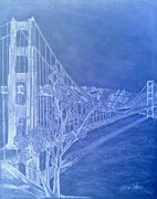 Golden Gate Drawings Posters - Golder Gate Bridge Inverted Poster by Irving Starr