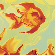 Organic Digital Art Originals - Goldfish 1 by Rabi Khan