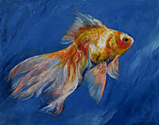 Fish Print Posters - Goldfish Poster by Michael Creese