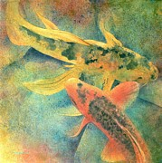 Watercolor Metal Prints - Goldfish Metal Print by Robert Hooper
