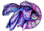 Fish Mixed Media Metal Prints - Goldfish Metal Print by Slaveika Aladjova
