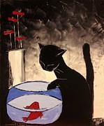 Red Cat Wine Prints - Goldfish With His Black Cat Friend Print by Atelier De  Jiel