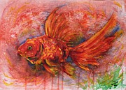 Golden Fish Painting Posters - Goldfish Poster by Zaira Dzhaubaeva
