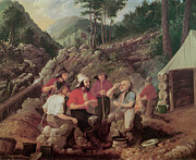 Miners Paintings - Goldminers by Albertus Del Orient Browere
