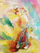 Golfer Paintings - Golf Action 01 by Catf