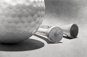 Tees Photos - Golf Ball and Tees Black and White by Charline Xia