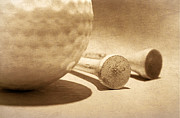 Tees Posters - Golf Ball and Tees Sepia Poster by Charline Xia