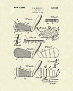 Gift Drawings Posters - Golf Club 1936 Patent Art Poster by Prior Art Design