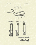 Sports Art Drawings Metal Prints - Golf Club 1945 Patent Art Metal Print by Prior Art Design