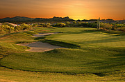 Desert Pyrography Metal Prints - Golf Course at Sunset Metal Print by Harry Lamb