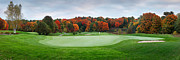 Golf Green Framed Prints - Golf course panorama in fall Framed Print by Oleksiy Maksymenko