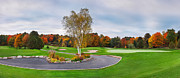 Golf Green Framed Prints - Golf course panoramic fall scenery Framed Print by Oleksiy Maksymenko
