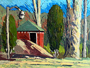 Outbuildings Painting Framed Prints - GOLF COURSE SHED Series No.14 Framed Print by Charlie Spear