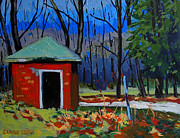 Outbuildings Painting Framed Prints - GOLF COURSE SHED Series No.3 Framed Print by Charlie Spear