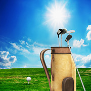 Golf Equipment And Ball On Golf Course Print by Michal Bednarek