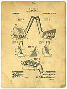 Ball Framed Prints - Golf Putter Patent Framed Print by Edward Fielding