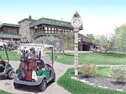 Al Puskaric Drawings Prints - Golf Seven Springs Mountain Resort Print by Albert Puskaric