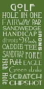 Golf Green Framed Prints - Golf Terms Framed Print by Jaime Friedman