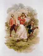Card Players Prints - Golfing Print by Ellen Hattie Clapsaddle
