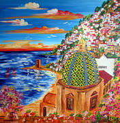 Seascape Paintings - Golfo di Positano by Roberto Gagliardi