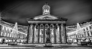 G.a.-2 Framed Prints - GOMA Glasgow lit up MONO Framed Print by John Farnan