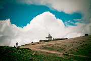 Tibet Prints - Gompa near Manasarovar lake in Tibet Print by Raimond Klavins